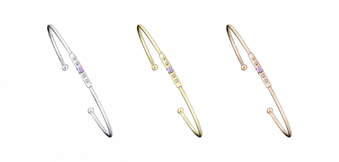 Bracciale rigido Capsule d'Émotions, zaffiro lilla