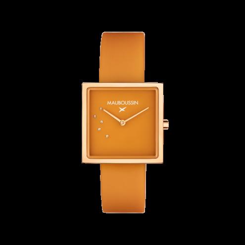 Orologio L'Heure Caramel, colore caramello, quadrato