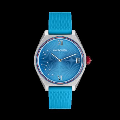 Orologio Elle a mis le Feu azzurro con diamanti