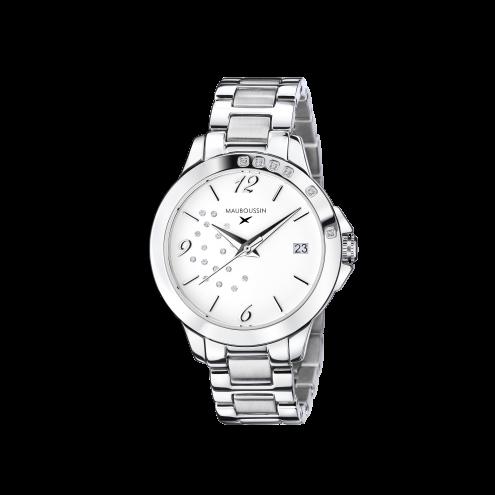 Orologio So Urgent bianco con diamanti