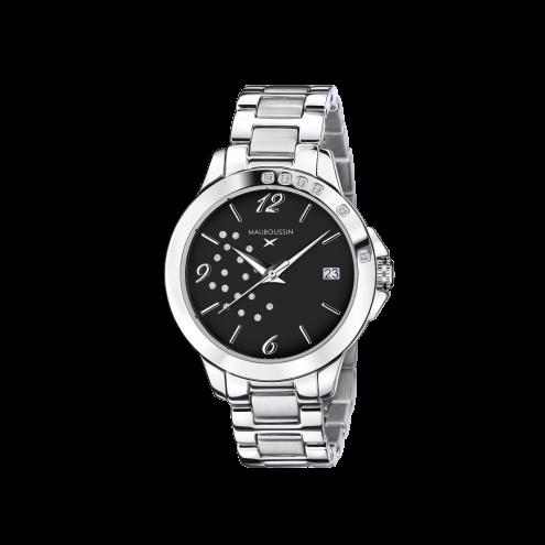 Orologio So Urgent nero con diamanti