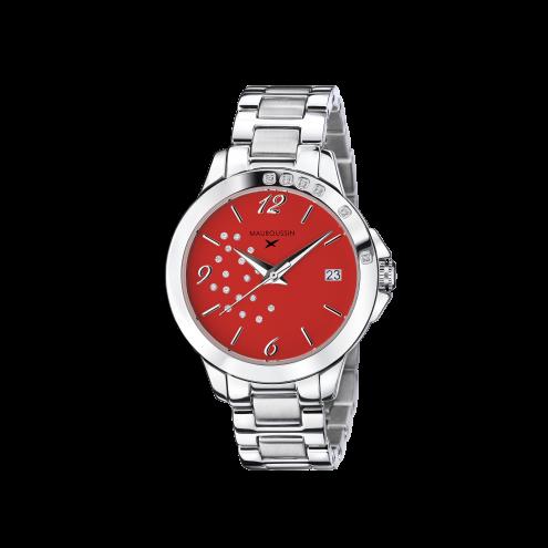 Orologio So Urgent rosso con diamanti